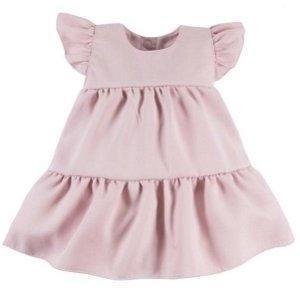 EEVI Dívčí šaty s volánky Nature - pudrové, vel. 80, 80 (9-12m)