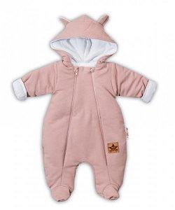 Baby Nellys Kombinézka s dvojitým zapínáním, s kapucí a oušky TEDDY - pudrová, 56 (1-2m)