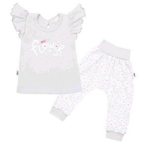 2-dílná kojenecká bavlněná souprava New Baby Happy Flower šedá Šedá 62 (3-6m)