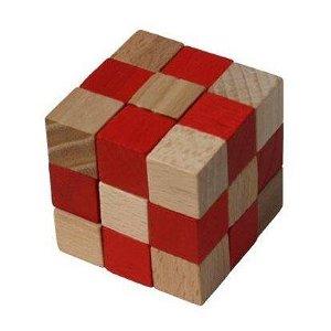 Česká dřevěná hračka Dřevěný hlavolam kostka červená