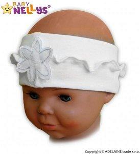 Čelenka Baby Nellys ® s květinkou a volánkem - bílá, 80/92, 80-92 (12-24m)