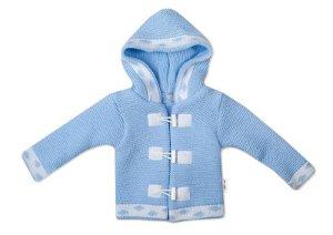 Baby Nellys Dvouvrstvá kojenecká bundička, svetřík - modrý, vel. 80, 80 (9-12m)