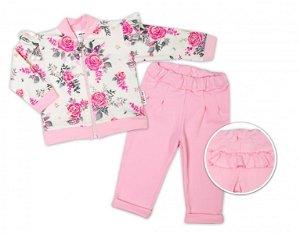 BABY NELLYS Dětská tepláková souprava s volánkem New Roses - růžová, smetanová, 56 (1-2m)