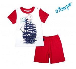 Kojenecké pyžamo krátké Nicol, Sailor - bílé/červené, vel. 86, 86 (12-18m)