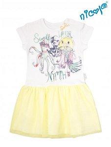Dětské šaty Nicol, Mořská víla - žluto/bílé, vel. 104, 104 (3-4r)