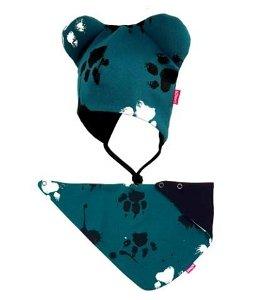 Bexa dvouvrstvá čepice na zavazování s oušky + šátek - Tlapky, petrolejová, vel. 92/98, 92-98 (18-36m)