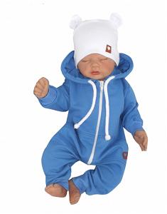 Z&Z Z&Z Dětský teplákový overálek s kapucí, modrý, vel. 74, 74 (6-9m)