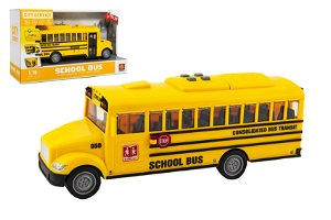Autobus školní plast 27cm na setrvačník na baterie se světlem se zvukem v krabici 32x19x12cm