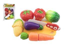 Teddies Zelenina krájecí plast s prkénkem 13,5x8cm s nožem v sáčku 18x26x5cm