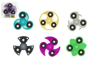 Teddies Hand Fidget Spinner glitrový, 6 druhů, antistresová hračka s kovovými ložisky