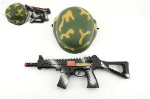 Teddies Vojenská sada helma přilba samopal na setrvačník 31cm plast v síťce