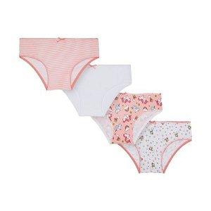 MAYORAL dívčí set 4ks kalhotek s jednorožcem, oranžová/bílá - 92 cm