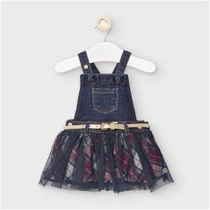 MAYORAL dívčí sukně s laclem a páskem modrá - 86 cm