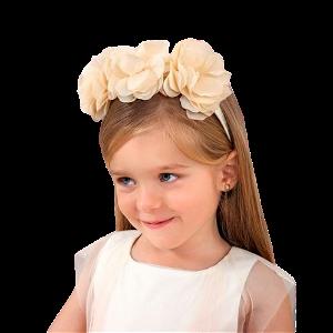 ABEL & LULA dívčí luxusní čelenka - krémová s květy
