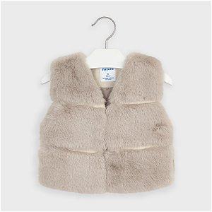 MAYORAL dívčí chlupatá vesta béžová - 116 cm