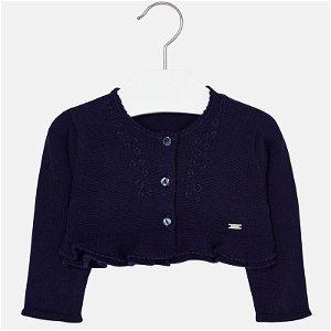 MAYORAL dívčí pletené bolero s výšivkami - modré - 86 cm