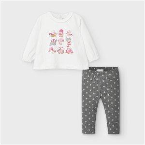 MAYORAL dívčí set tričko bílé sovy a legíny šedé s puntíky - 98 cm