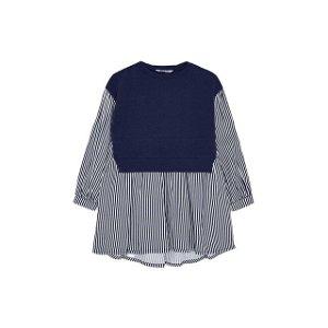 MAYORAL dívčí šaty pruhy zadní vázání tmavě modrá - 104 cm