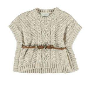 Mayoral Dívčí pletená vesta s páskem - béžová - 104 cm