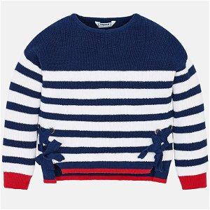 MAYORAL dívčí svetr s mašlí - modrý pruh - 110 cm