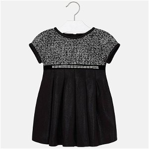 MAYORAL dívčí šaty krátký rukáv vzory černá - 134 cm