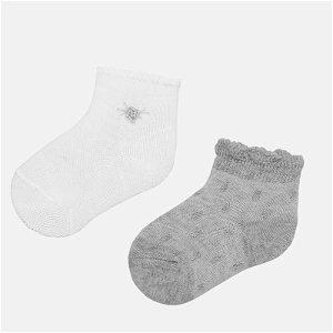 MAYORAL dívčí ponožky bílá, šedá s kytičkou, 2 páry - EU21