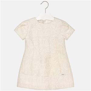 MAYORAL dívčí šaty žakár růže béžová - 128 cm