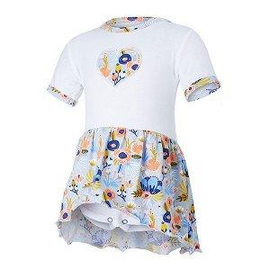 LITTLE ANGEL Body šaty tenké set Outlast® - bílá/sv.šedá kvítí Vel. 86