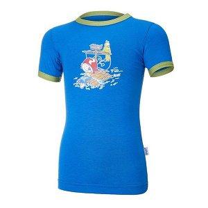 LITTLE ANGEL Tričko tenké KR obrázek Outlast® - modrá royal/zelená matcha Vel. 110