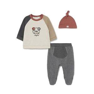 MAYORAL chlapecký set tričko, polodupačky, čepice pejsek béžová, šedá - 80 cm