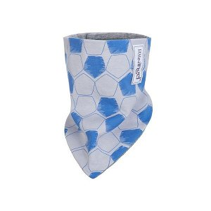 LITTLE ANGEL Šátek na krk podšitý Outlast® - šedomodrá fotbal/šedý melír vel. uni