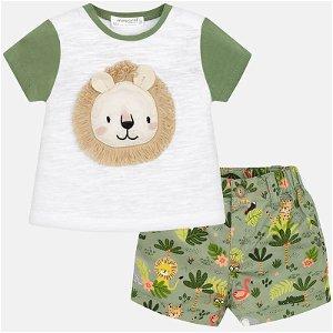 MAYORAL chlapecký set tričko, kraťasy lev bílá, zelená - 86 cm