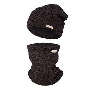 LITTLE ANGEL Set pletená čepice a nákrčník Outlast ® - černá Vel. 5 | 49-53 cm