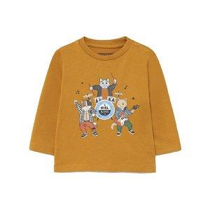 MAYORAL chlapecké tričko DR kočičí kapela okrová - 86 cm