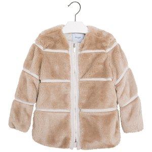 Mayoral dívčí kabát s umělým kožíškem - hnědý - 104 cm