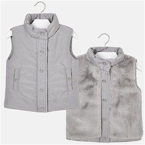MAYORAL chlapecká oboustranná teplá vesta šedá - 110 cm