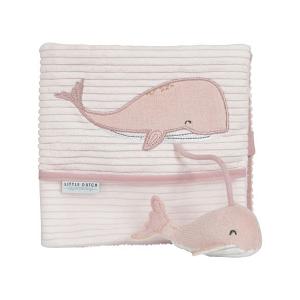 LITTLE DUTCH Plyšová knížka velká ocean - velryba pink