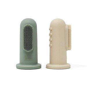 MUSHIE Silikonový zubní kartáček na prst 2ks Sand/Cambridge Blue