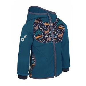 Unuo, Dětská softshellová bunda s fleecem, Kobaltová, Noční zvířátka Velikost: 80/86, vel. 98/104