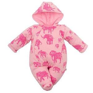 Zateplená kojenecká kombinéza s kapucí Baby Service Sloni růžová, vel. 68 (4-6m), Růžová