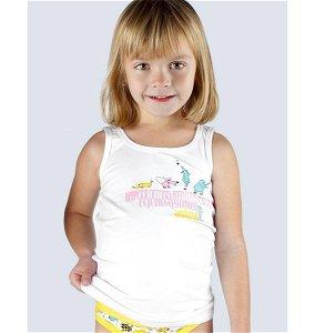 GINA dětské tílko dívčí, širší ramínka, šité, s potiskem Disco VI 28002P  - bílá  146/152, vel. 146/152, Bílá