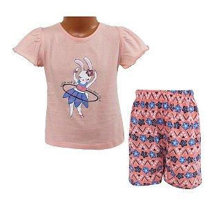 Dívčí letní pyžamo, komplet Wolf (S2964), vel. 104, lososová