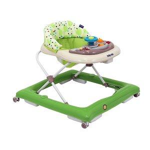 Dětské chodítko Baby Mix s volantem a silikonovými kolečky zeleno-béžové, Zelená