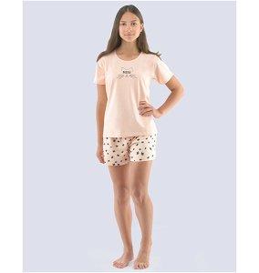 GINA dětské pyžamo krátké dívčí, šité, s potiskem Pyžama 2021 29006P  - pleťová černá 140/146, vel. 152/158, pleťová černá