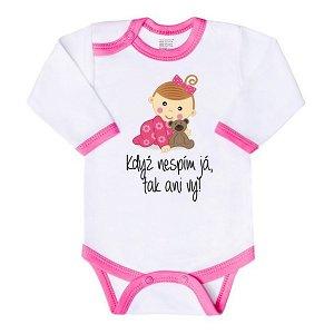 Body s potiskem New Baby Ahoj, jsem tady!, vel. 74 (6-9m), Růžová