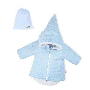 Zimní kojenecký kabátek s čepičkou Nicol Kids Winter růžový, vel. 56 (0-3m), Modrá