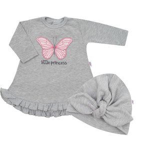 Kojenecké šatičky s čepičkou-turban New Baby Little Princess šedé, vel. 62 (3-6m), šedá