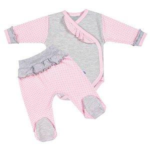 2-dílná kojenecká souprava New Baby Puntík II šedo-růžová, vel. 56 (0-3m), Růžová