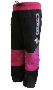 dívčí zateplené softhellové kalhoty Kugo (HK2621Ma), vel. 80, černo-růžová
