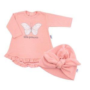 Kojenecké šatičky s čepičkou-turban New Baby Little Princess šedé, vel. 86 (12-18m), Růžová